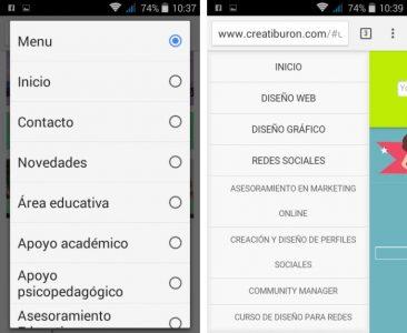 menus web responsive